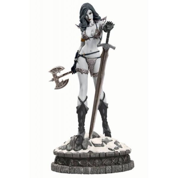 RED SONJA STATUETTE RÉSINE - WOMEN OF DYNAMITE - ÉDITION LIMITÉE - BLACK & WHITE VARIANT - DYNAMITE ENTERTAINMENT - 29 CM - 0 - DYNASTL015740 – 725130249890 – kingdom-figurine.fr