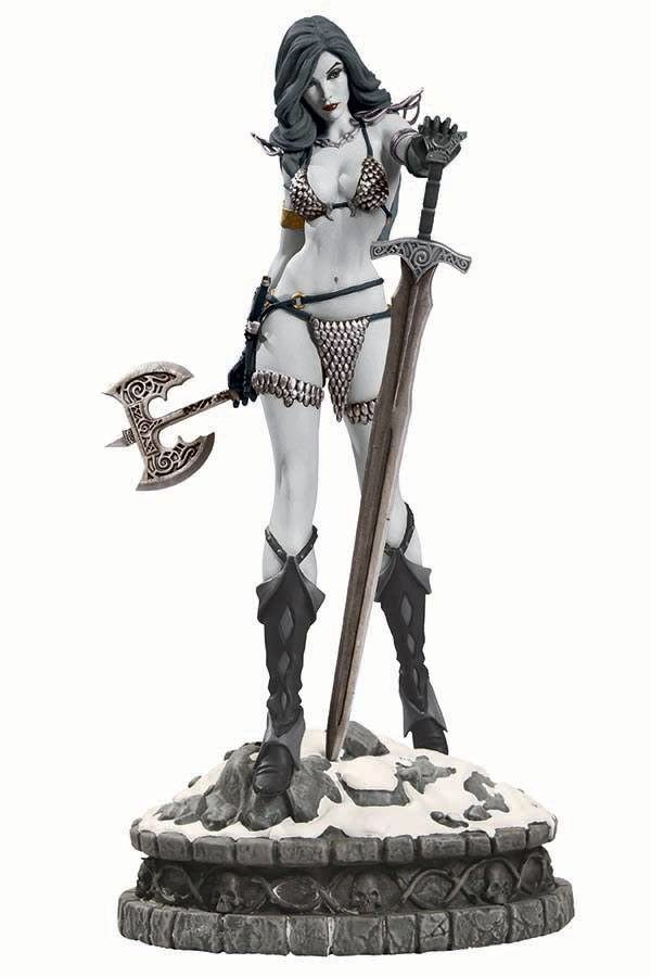RED SONJA STATUETTE RÉSINE - WOMEN OF DYNAMITE - ÉDITION LIMITÉE - BLACK & WHITE VARIANT - DYNAMITE ENTERTAINMENT - 29 CM - 1 - DYNASTL015740 – 725130249890 – kingdom-figurine.fr