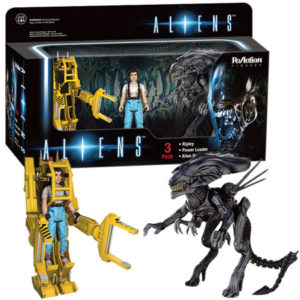 RIPLEY, POWER LOADER & QUEEN PACK 3 FIGURINES - ALIENS - Re-ACTION - SUPER7 - 9 CM – 0 - 849803096465 – kingdom-figurine.fr