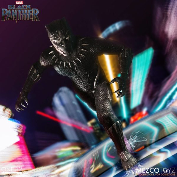 BLACK PANTHER FIGURINE ARTICULÉE - MARVEL UNIVERSE – ONE 12 - MEZCO TOYS - 17 CM – (10) - 696198769807 – kingdom-figurine.fr
