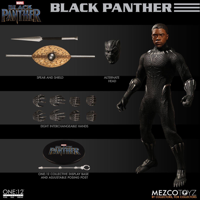 Mezco One:12 Collectif panthère noire huit interchangeables Mains pièces uniquement