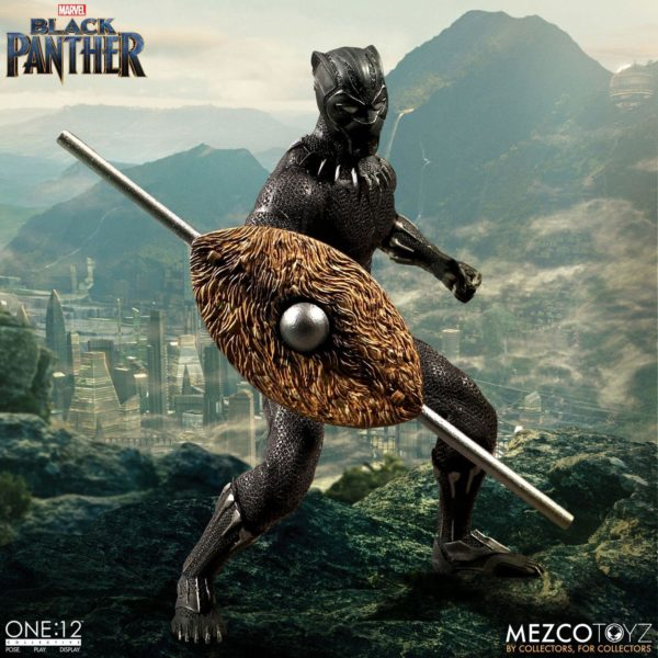BLACK PANTHER FIGURINE ARTICULÉE - MARVEL UNIVERSE – ONE 12 - MEZCO TOYS - 17 CM – (2) - 696198769807 – kingdom-figurine.fr