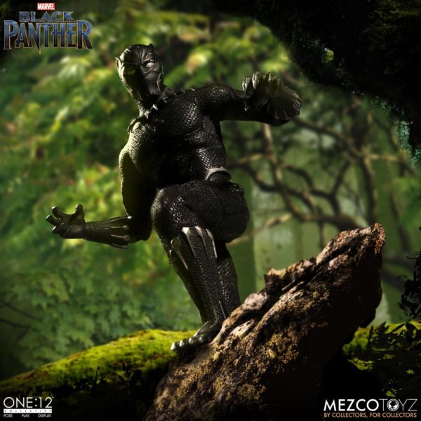 BLACK PANTHER FIGURINE ARTICULÉE - MARVEL UNIVERSE – ONE 12 - MEZCO TOYS - 17 CM – (6) - 696198769807 – kingdom-figurine.fr