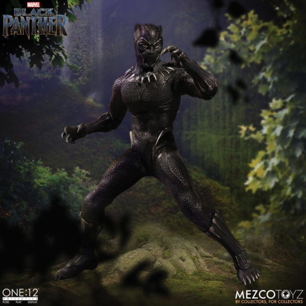 BLACK PANTHER FIGURINE ARTICULÉE - MARVEL UNIVERSE – ONE 12 - MEZCO TOYS - 17 CM – (7) - 696198769807 – kingdom-figurine.fr