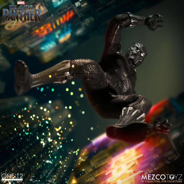 BLACK PANTHER FIGURINE ARTICULÉE - MARVEL UNIVERSE – ONE 12 - MEZCO TOYS - 17 CM – (8) - 696198769807 – kingdom-figurine.fr