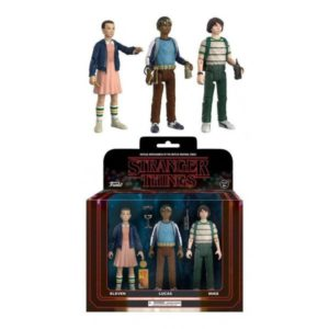 ELEVEN, LUCAS, MIKE PACK 3 FIGURINES ARTICULÉES - STRANGER THINGS - ReACTION - FUNKO – (1) - 889698208338 – kingdom-figurine.fr