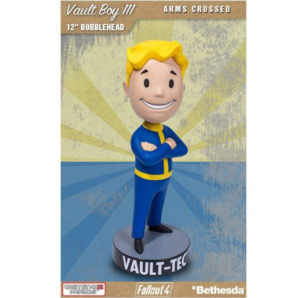 VAULT BOY 111 ARMS CROSSED BOBBLE HEAD - FALLOUT 4 - GAMING HEADS - 30 CM – (1Bis) - 5060254181844 – kingdom-figurine.fr