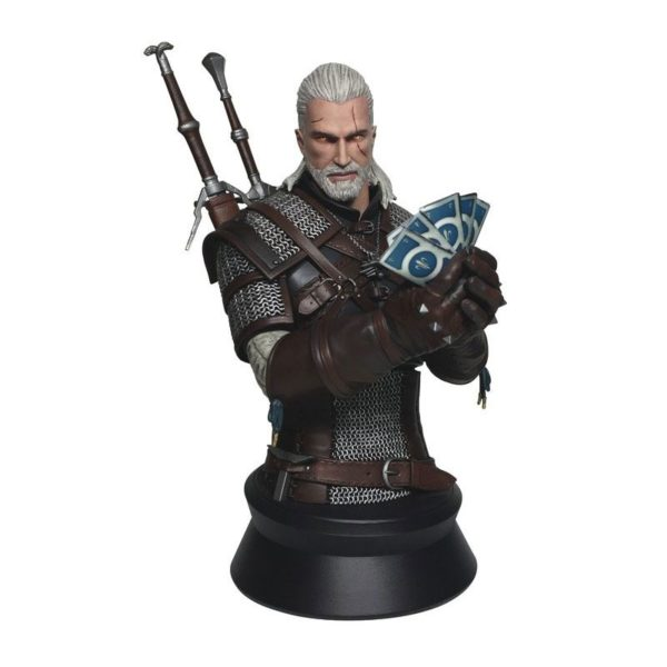 GERALT PLAYING GWENT BUSTE WITCHER 3 WILD HUNT DARK HORSE 23 CM 761568000917 kingdom-figurine.fr