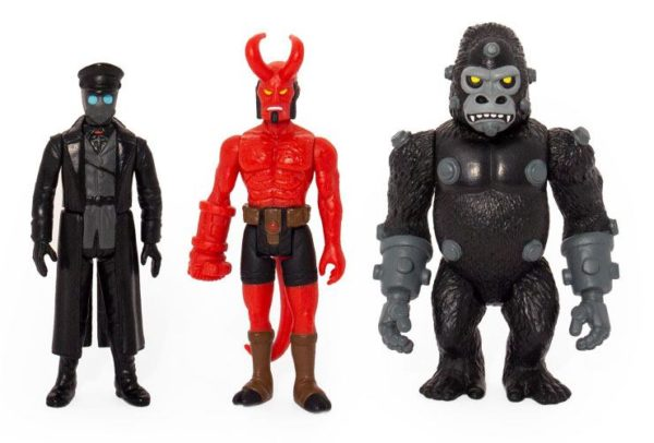 HELLBOY PACK 3 FIGURINES - HELLBOY WITH HORNS - KARL KROENEN - KRIEGAFFE APE - ReAction SUPER7 (2) 811169030841 kingdom-figurine.fr