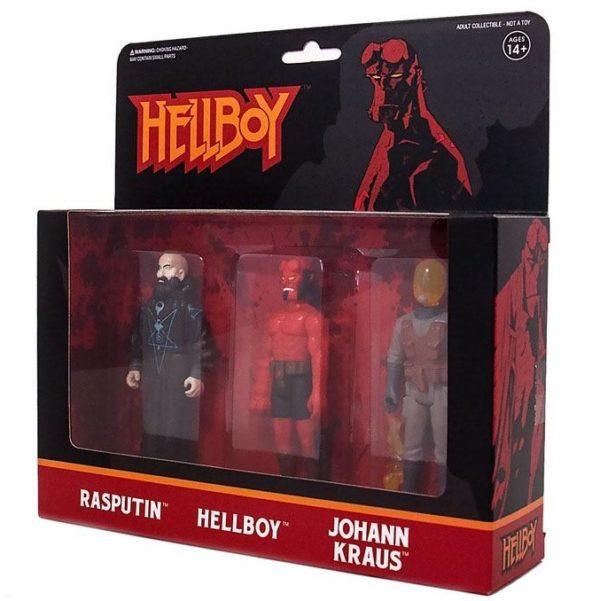 HELLBOY PACK 3 FIGURINES HELLBOY WITH HORNS - RASPUTIN - JOHANN KRAUS – ReACTION SUPER7 (1bis) 811169030834 kingdom-figurine.fr