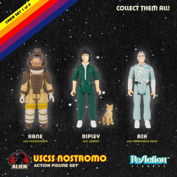 ALIEN ReACTION PACK 3 FIGURINES KEN, RIPLEY & ASH SUPER7 10 CM (3) 811169030247 kingdom-figurine.fr