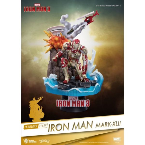 IRON MAN MARK XLII DIORAMA IRON MAN 3 MARVEL D-SELECT BEST KINGDOM 15 CM (0) 4713319858632 kingdom-figurine.fr