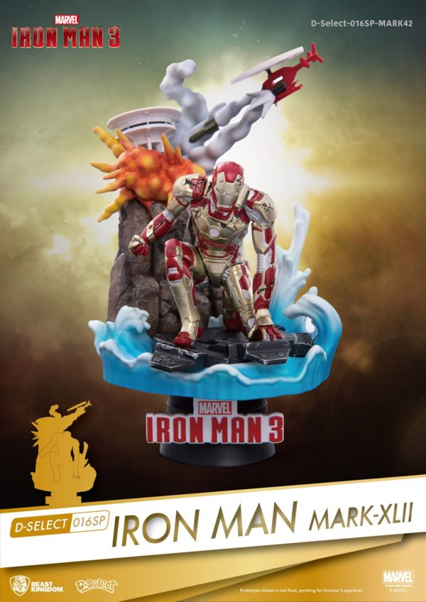 IRON MAN MARK XLII DIORAMA IRON MAN 3 MARVEL D-SELECT BEST KINGDOM 15 CM (1) 4713319858632 kingdom-figurine.fr