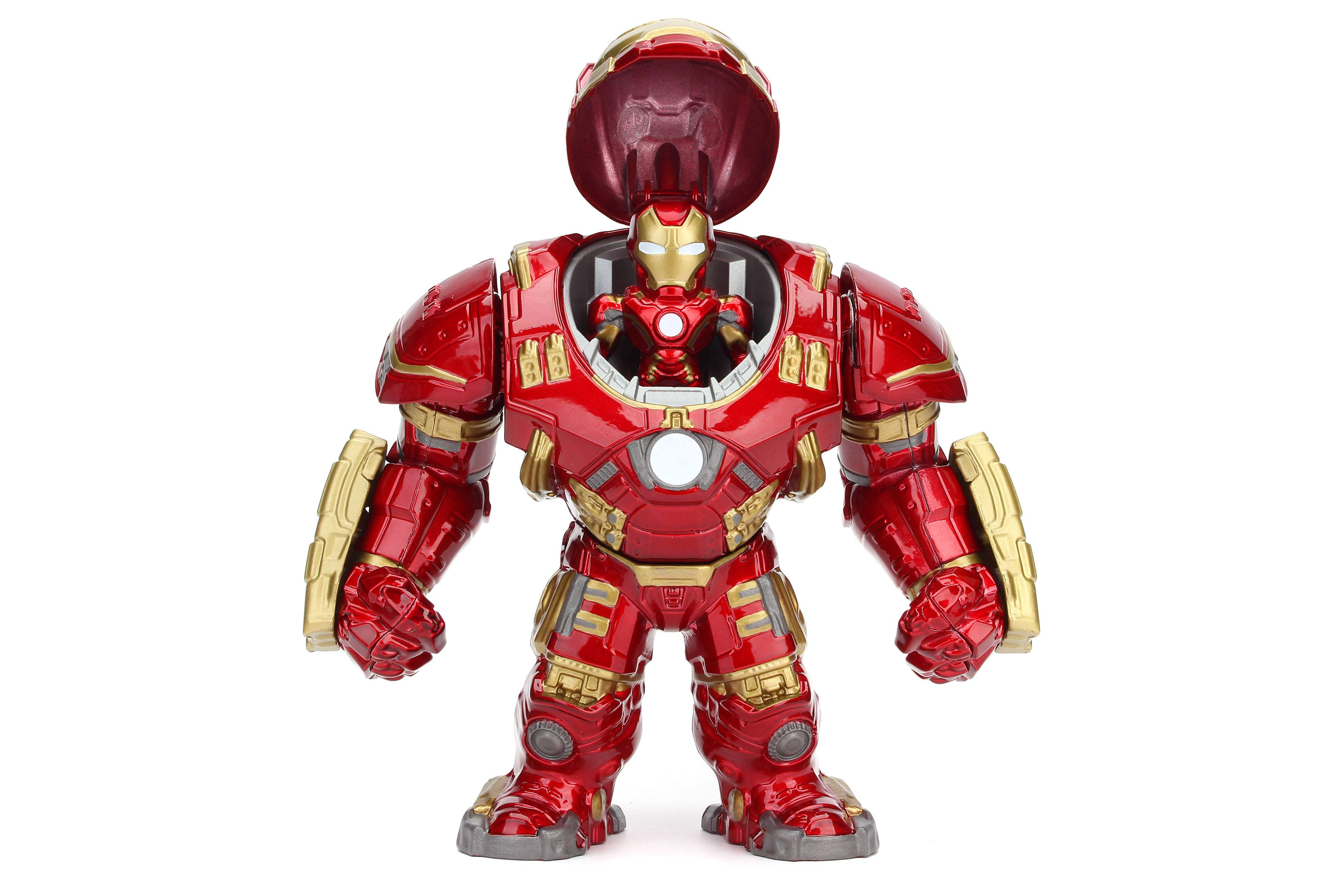 Une figurine Hulkbuster et Iron Man