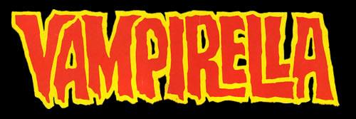 Logo rouge et jaune sur fond noir avec inscription Vampirella