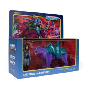 SKELETOR & PANTHOR PACK 2 FIGURINES MASTERS OF THE UNIVERSE RE-ACTION SUPER7 (1) 840049800465 kingdom-figurine.fr
