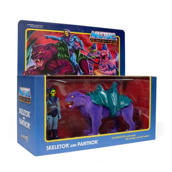 SKELETOR & PANTHOR PACK 2 FIGURINES MASTERS OF THE UNIVERSE RE-ACTION SUPER7 (1) 840049800465 kingdom-figurine.fr