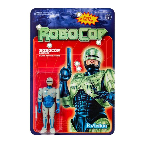 ROBOCOP BATTLE DAMAGED GLOW IN THE DARK FIGURINE ROBOCOP RE-ACTION SUPER7 10 CM 840049803640 kingdom-figurine.fr